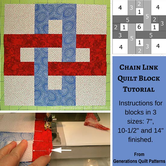 "Chain Link Quilt Block Pattern: 7"", 10-1/2"" and 14"""