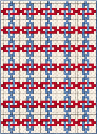 Chain Links quilt blocks used in a straight set of 5 by 7 blocks