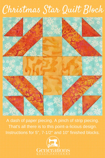 A dash of paper piecing. A pinch of strip piecing. That's all there is to this point-a-licious design. Instructions for 5