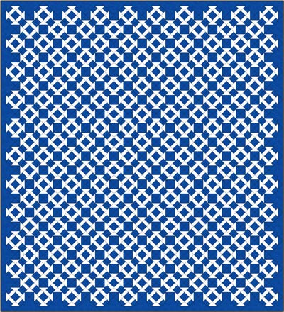 Churn Dash quilt design, diagonal set
