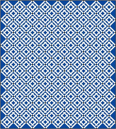 Churn Dash quilt design, diagonal set with sashing
