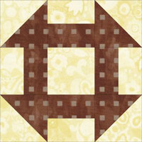 Churn Dash quilt block aka Shoofly