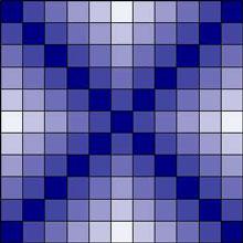 Colorwash Irish chain quilt block 1