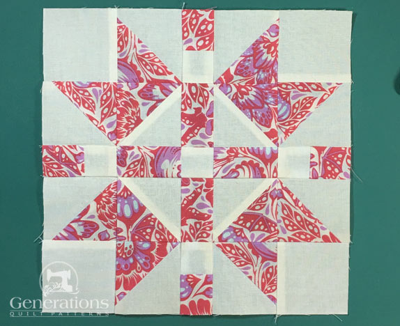 The completed Continental quilt block from the front...