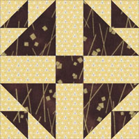 Corn and Beans quilt block aka Shoofly