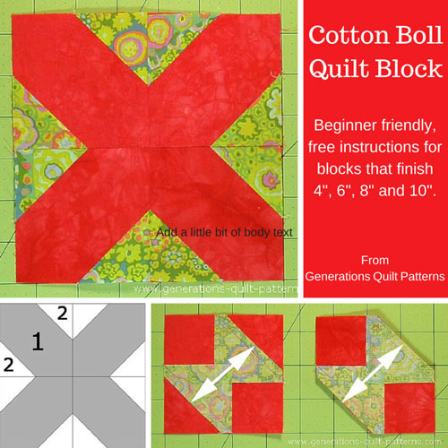 Cotton Boll Quilt Block Pattern 4 6 8 And 10