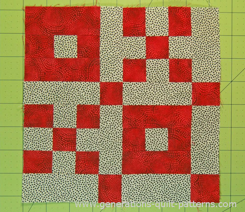 The sewn Crossword Puzzle quilt block