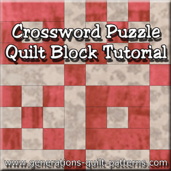 """Crossword Puzzle Quilt Block"" Free Paper Pieced Quilt Block Pattern designed and from Generations Quilt Patterns"