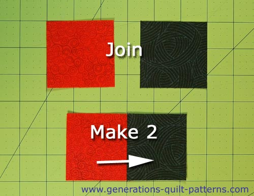 Sew a #1 and #2 square together, press the SA to the darker fabric