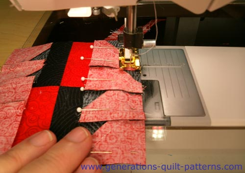 Sewing the units in the center row