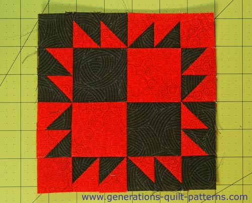 The finished Crow's Foot block, front