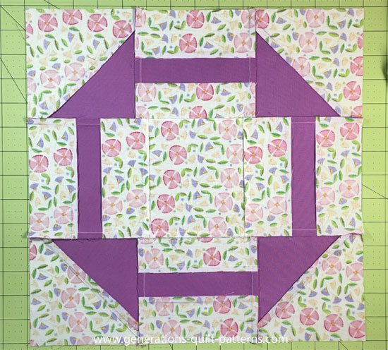 Crow's Nest quilt block from the back side