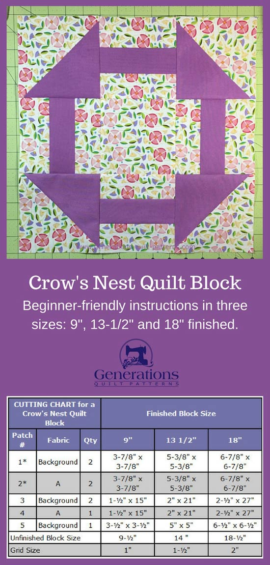 Crow's Nest quilt block tutorial