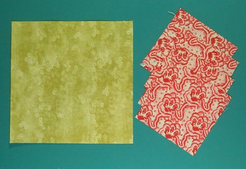 Cut patches for the no waste flying geese quilt blocks using the cutting chart of your choice