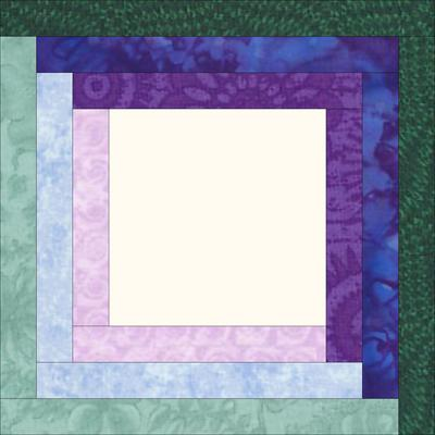 A Log Cabin quilt block design with 3 rounds of logs<br><br>Click on each thumbnail below for a larger image<br><br>