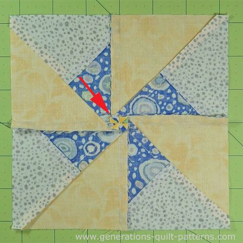 Double Pinwheel quilt block from the back