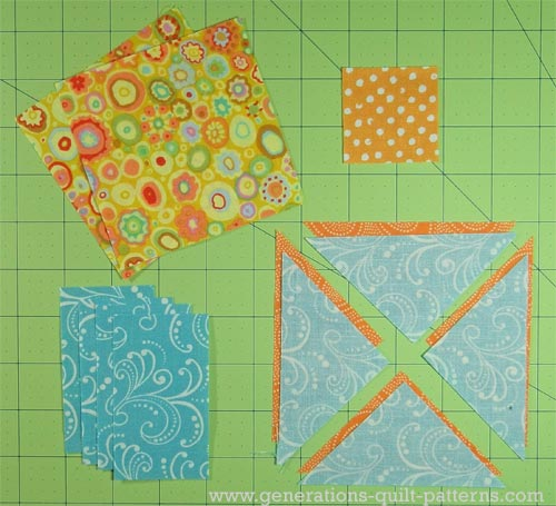 These are the patches needed for this 7-1/2 inch Double Star quilt block