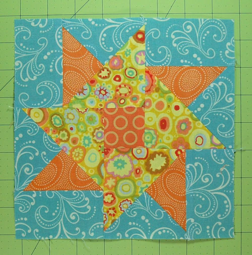 The finished Double Star Quilt block