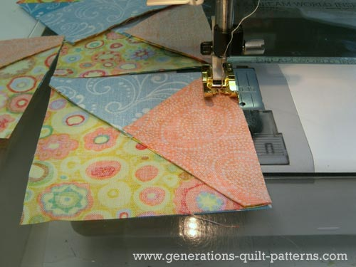 Add the background rectangle to the quarter square triangle unit