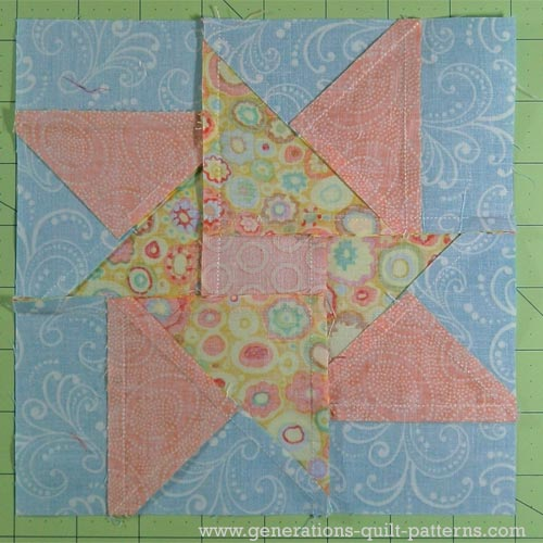Double Star quilt block viewed from the back side