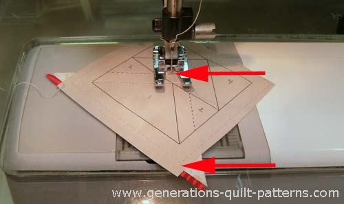 Stitch the second side triangle into place