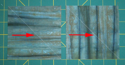 Mark a diagonal sewing line in chalk