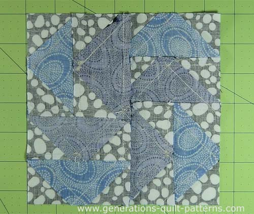 Dutchman's Puzzle quilt block from the back