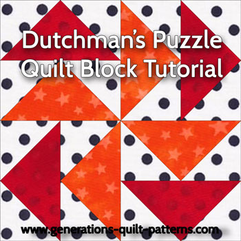 """Dutchman's Puzzle Paper Pieced Quilt Block"" Free Pattern designed and from Generations Quilt Patterns"