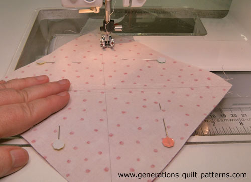 Stitch a quarter inch away from both sides of each line.