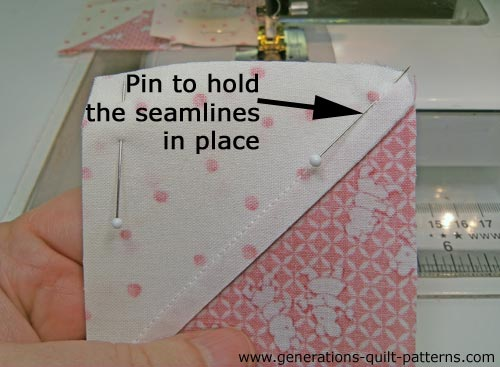 Pin seams when the two light patches of the HSTs meet
