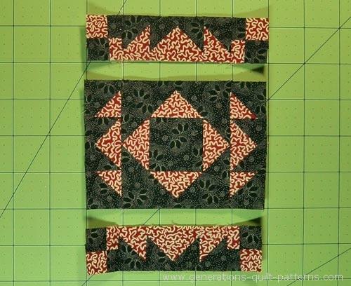 Sew the units in each row togethr