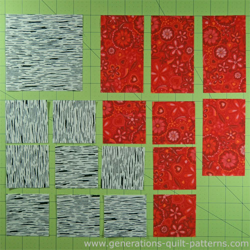 The patches needed to make an Evening Star quilt block
