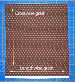 Fat quarter with lengthwise and crosswise grain identified