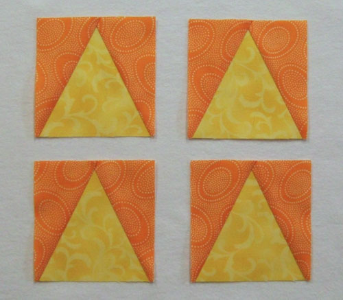 Finished triangle in a square units