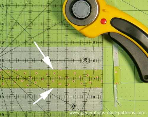 Straighten the short edge of both strip sets