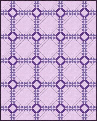 Five Patch quilt design, diagonal set with alternate blocks