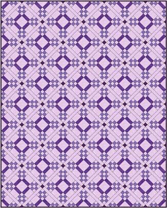 Five Patch quilt design, diagonal set with sashing