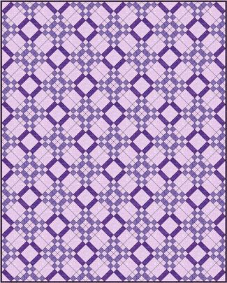 Five Patch quilt design, diagonal set