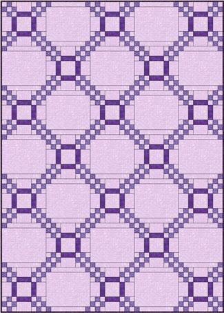 Five Patch quilt design, straight set with alternate blocks