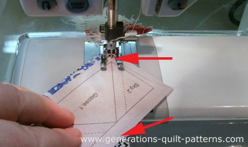 Stitch from the printed side, starting and stopping beyond the dashed outside line