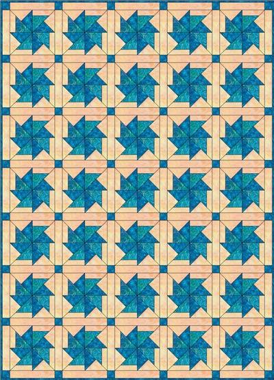 Flying Kite Quilt, 5 x 7 blocks, straight set