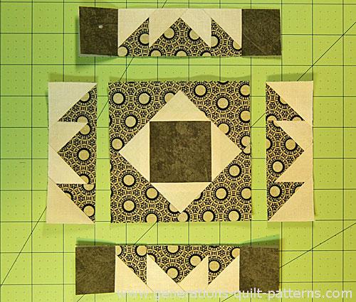 Arrange the sewn units into rows
