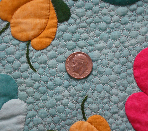 Close-up of the pebble quilting