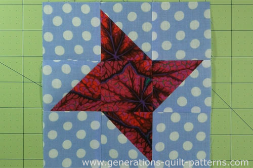 The finished Friendship Star quilt block