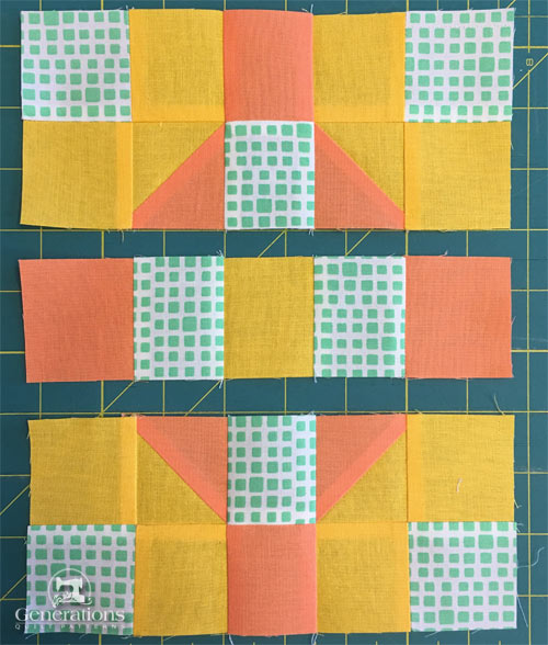 Rows for our Georgia block are ready to stitch together