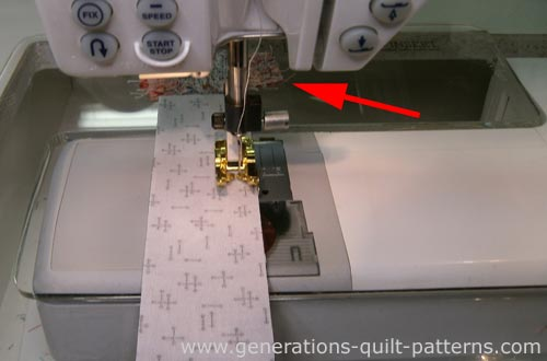 Sew the strips togther in pairs, press and then add the final strip to each strip set.