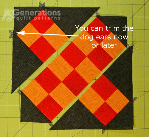 Lay out the rows of the Grandmother's Cross