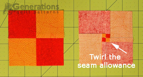 Twirl the seam allowances to minimize bulk.