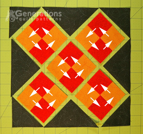 Arrange the patches into the block's design