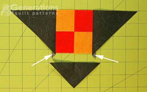 The ends of the #2 triangles extend past the edge of the four patch